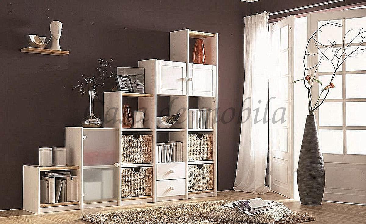 Raumteiler Stufenregal aus Massivholz weiß