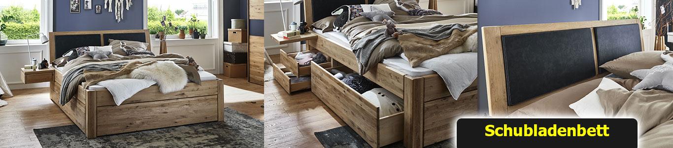 Schubladenbett aus Massivholz Wildeiche Bianco Easy Sleep von Tjoernbo