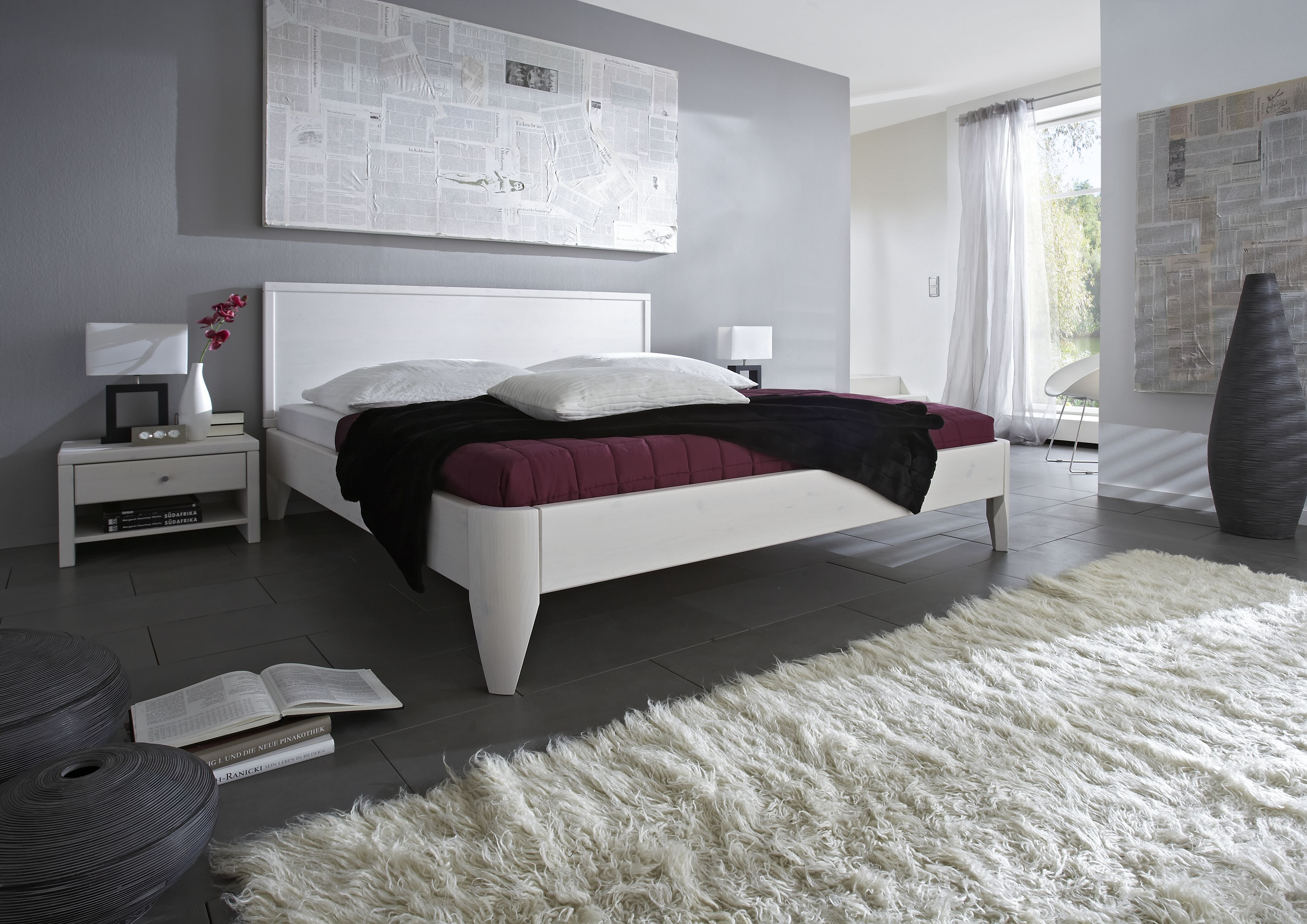 Holzbett Kiefer massiv weiß lackiert Easy Sleep