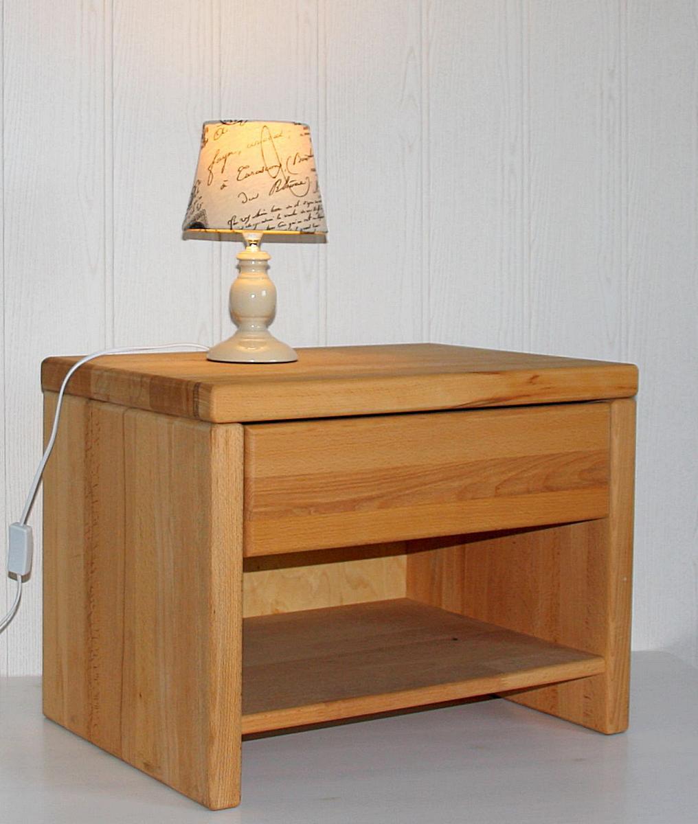Nachtkommode + Ablagefach mit Schublade aus Massivholz