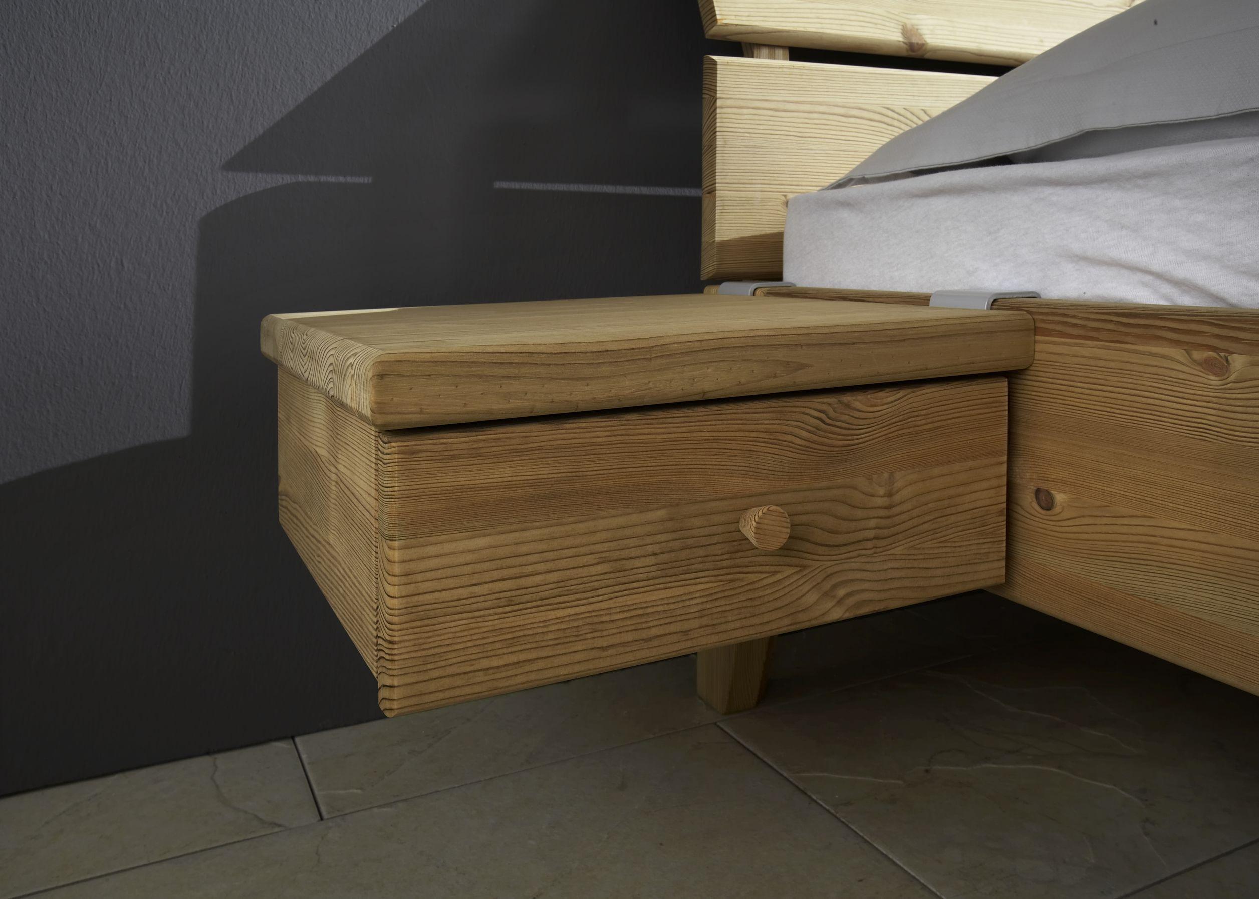 Massivholz Nachttisch Hängekonsole mit Schublade