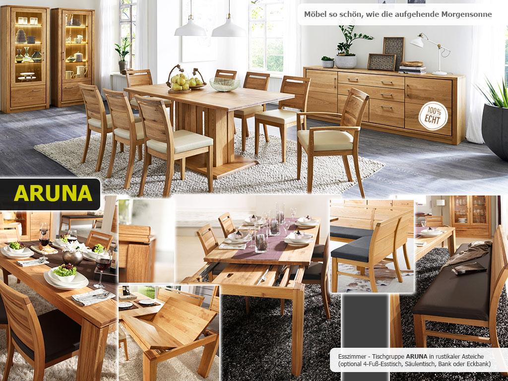 Aruna Esszimmer mit 4-Fuß-Esstisch Sitzbank und Stühlen