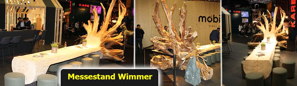 ausgefallene Massivholz-Baumwurzel am Messestand WIMMER