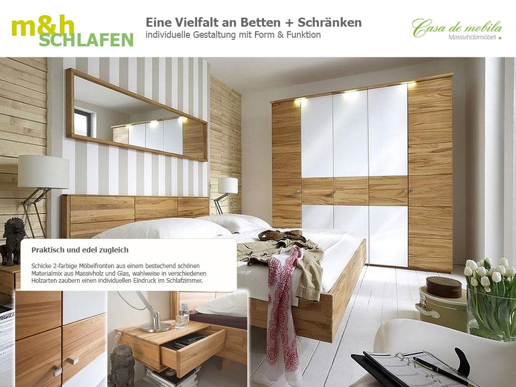 Doppelbett Kleiderschrank Massivholz m&h Schlafzimmer MERCUR