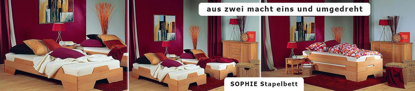 Stapelbett Massivholz SOPHIE Buche m&h