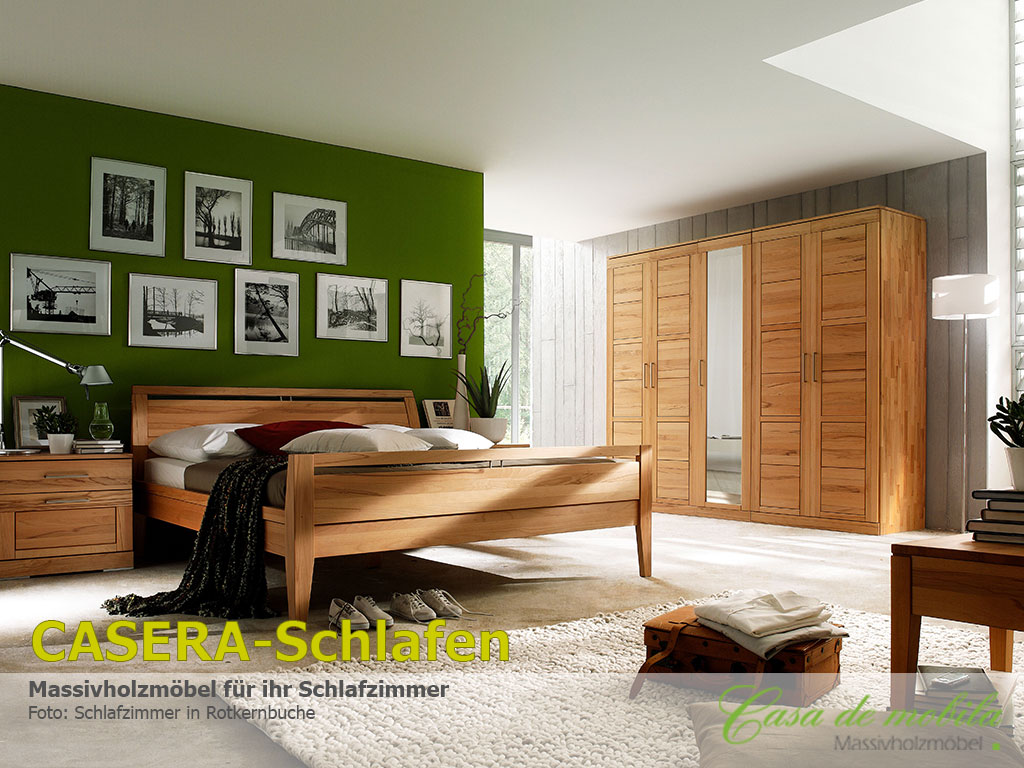 Casera Schlafzimmer Doppelbett Massivholz Rotkernbuche