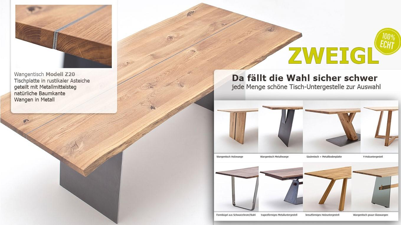Auswahl diverser Tischuntergestelle