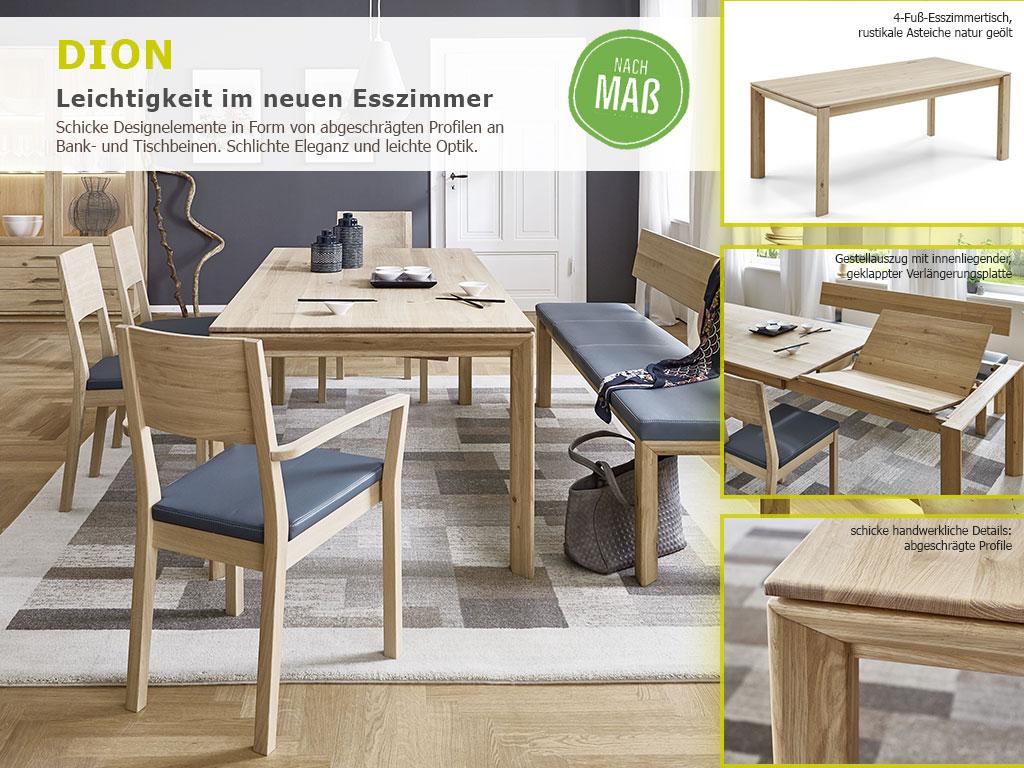 Tischgruppe mit Bank und Stühle Asteiche