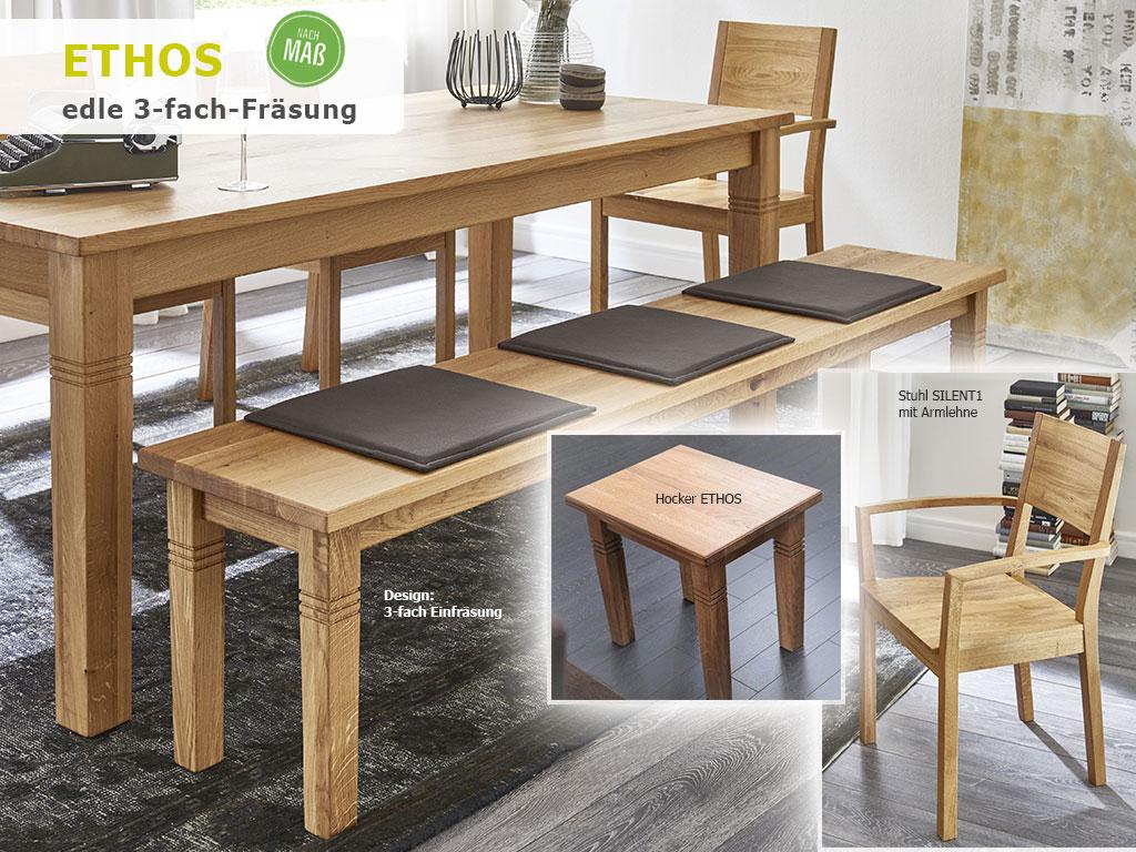 Küchentisch Massivholz Landhausstil Holztisch Holzbank + Armlehnenstuhl