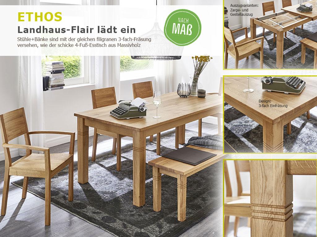 4-Fuß-Massivholz-Esstisch Eiche + Holzbank + Armlehnenstuhl SILENT1