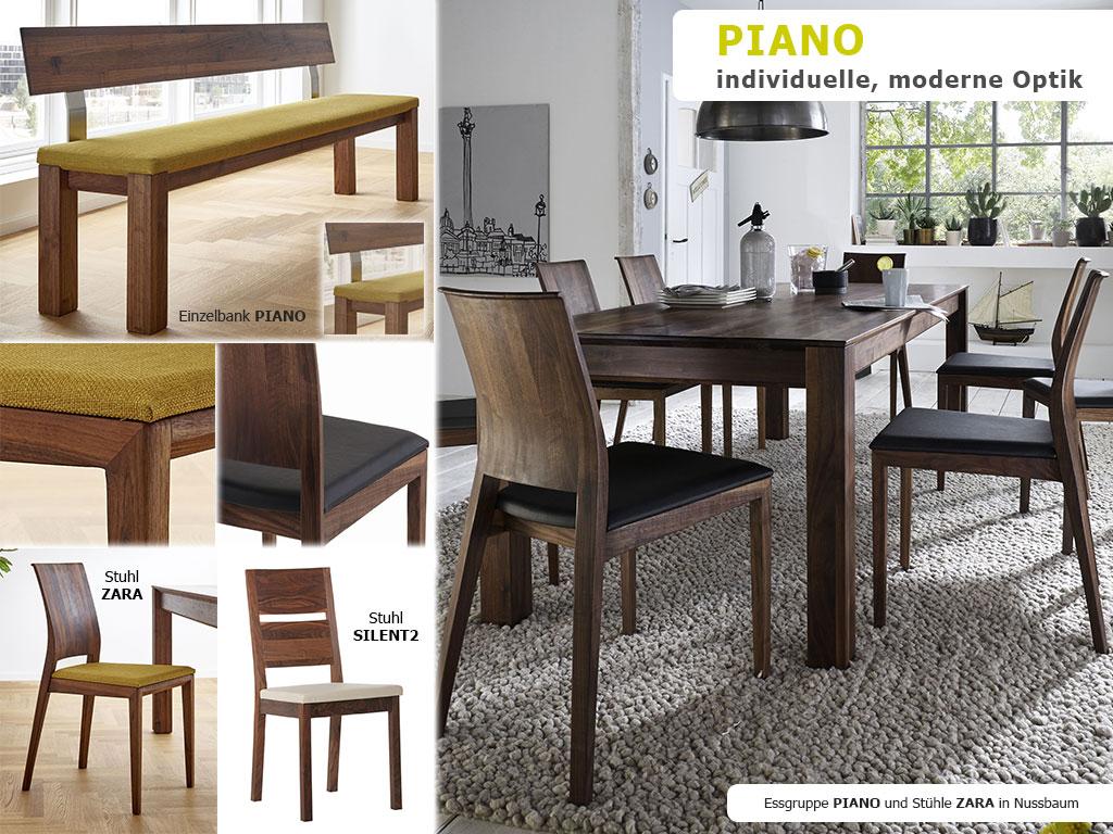 PIANO-Sitzmöglichkeiten-Massivholztisch