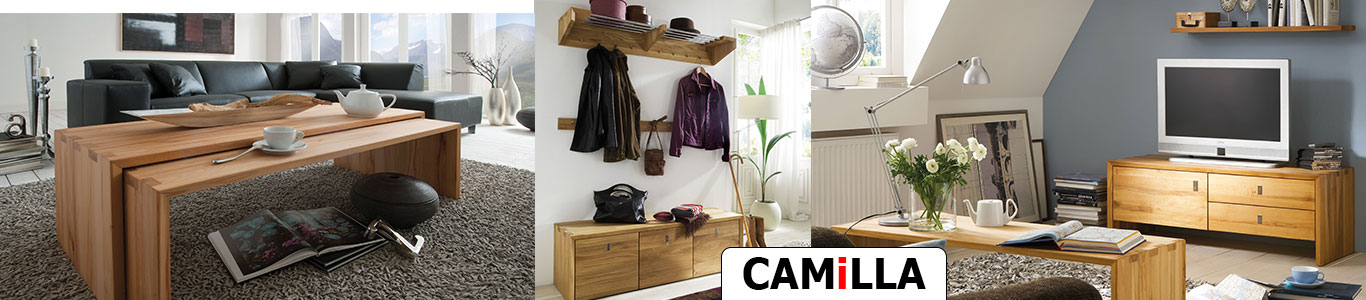 Massivholzmöbel CAMiLLA für Diele- und Wohnbereich aus Rotkernbuche oder Wildeiche