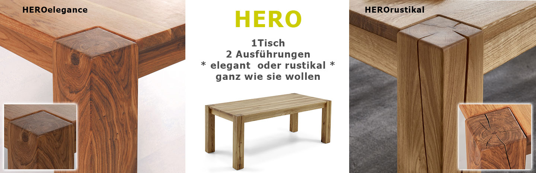 Massivholz Holztisch Vergleich HERO rustikal-elegance