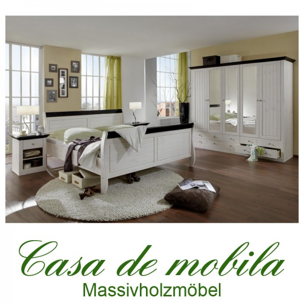 massivholz schlafzimmer komplett landhausstil bett schrank kiefer massiv wei ebay. Black Bedroom Furniture Sets. Home Design Ideas