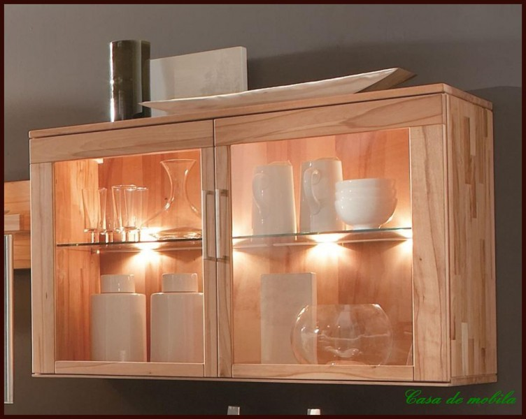 h ngevitrine h ngeschrank holz kernbuche buche massiv ebay. Black Bedroom Furniture Sets. Home Design Ideas