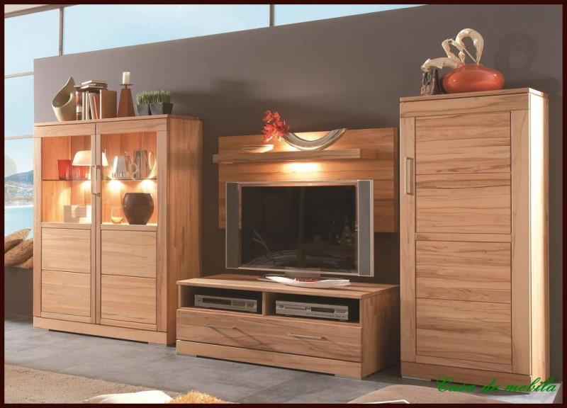 wohnwand anbauwand wohnzimmer schrank wand m bel massiv holz kernbuche ge lt ebay. Black Bedroom Furniture Sets. Home Design Ideas