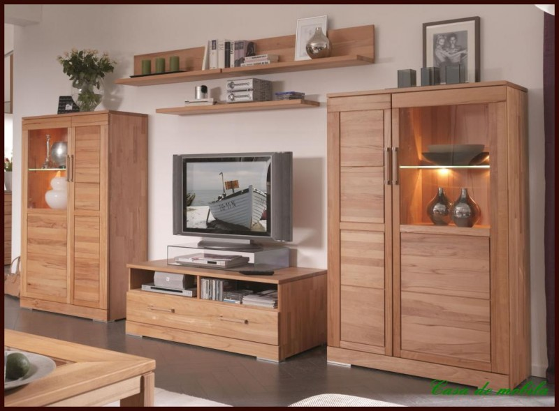 wohnwand anbauwand wohnzimmer m bel schrank wand massiv holz kernbuche ge lt ebay. Black Bedroom Furniture Sets. Home Design Ideas