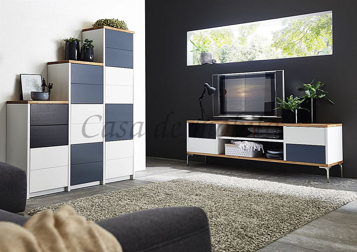 Massivholz Wohnwand Stufenregal TV-Board