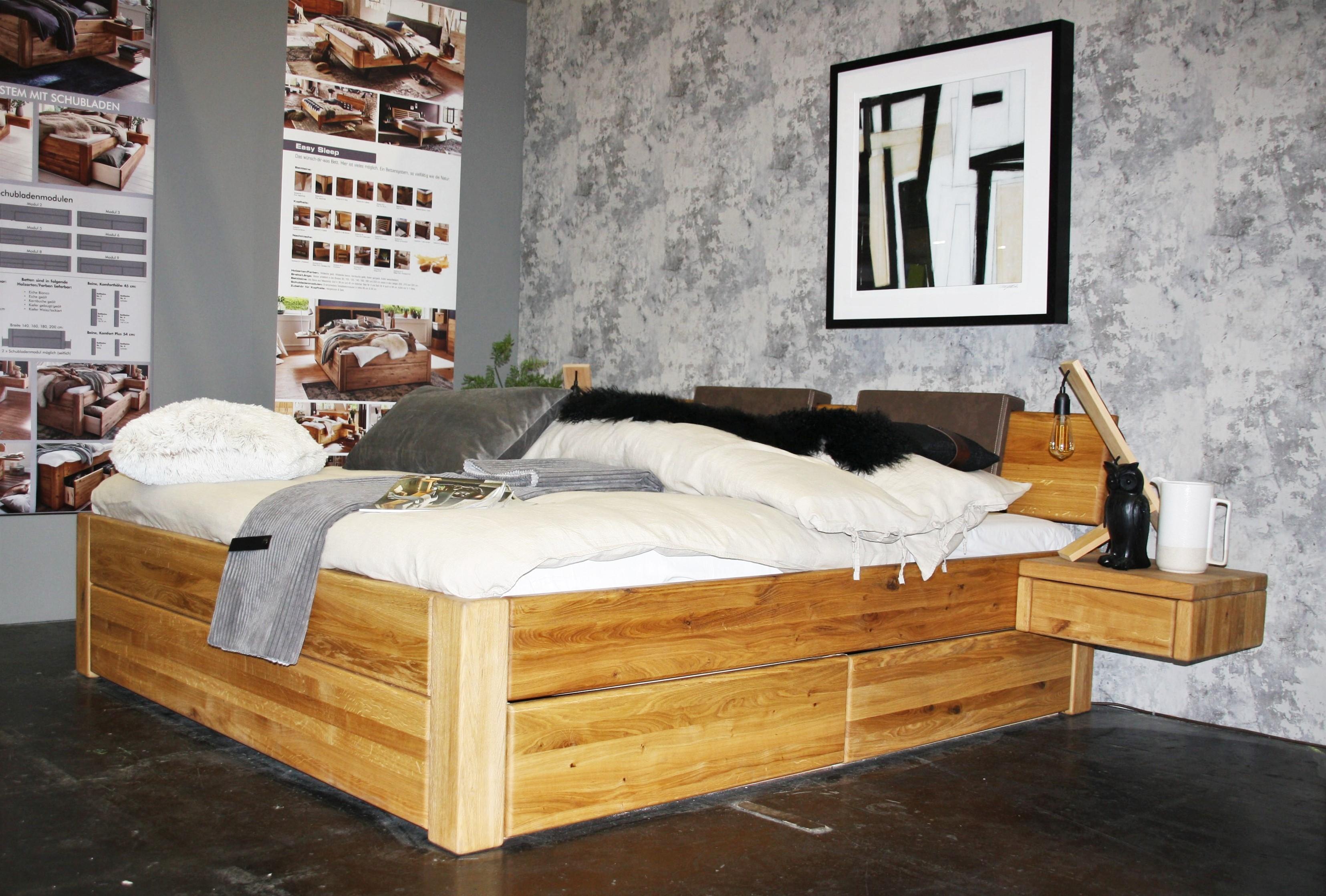 Massivholz Doppelbett Easy Sleep aus Wildeiche
