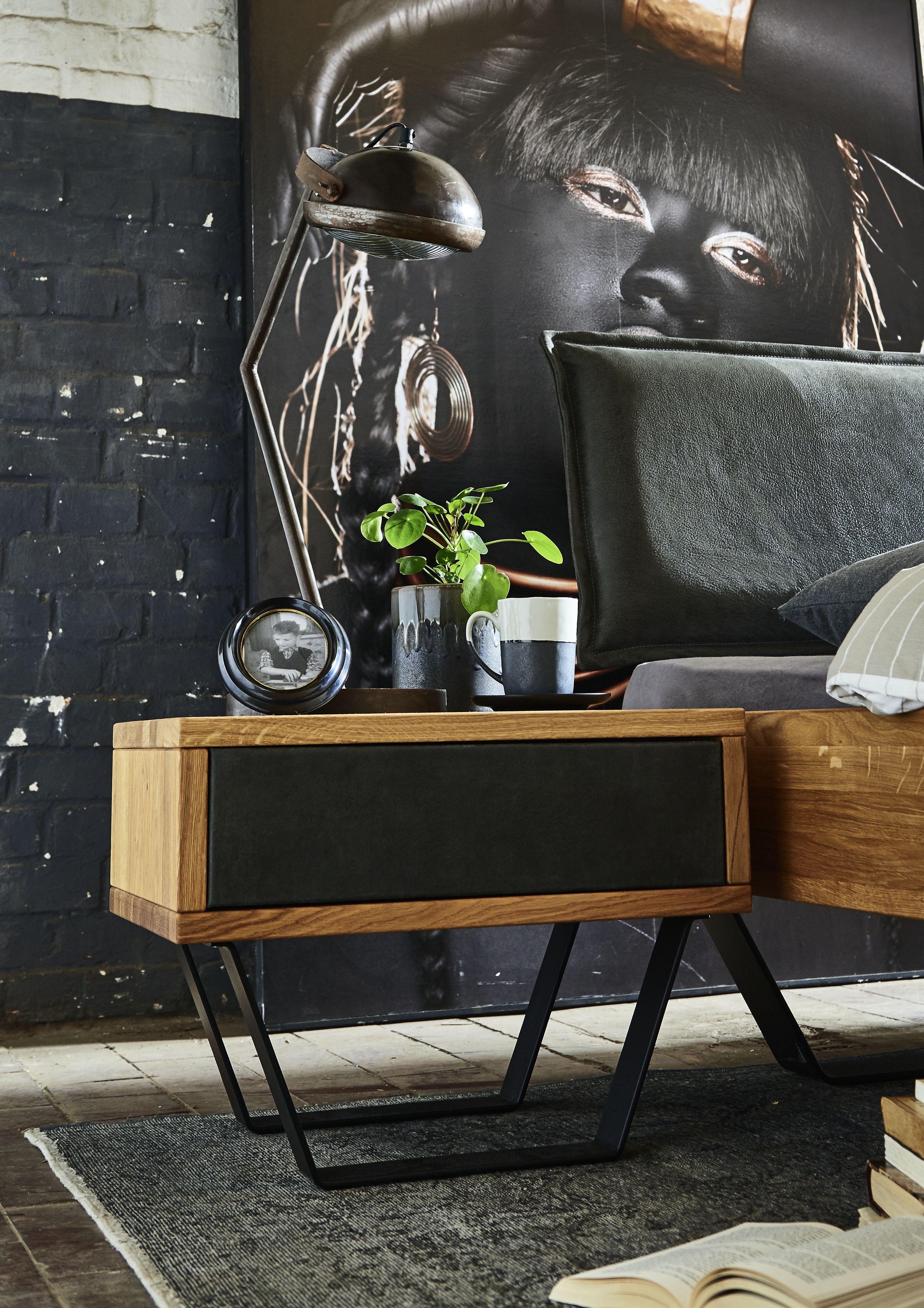 Nachttisch Massivholz Wildeiche mit Schublade