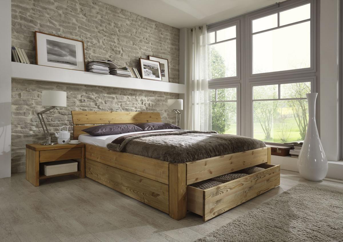 Massivholzbett Easy Sleep mit Schubladen in Kiefer gelaugt geölt