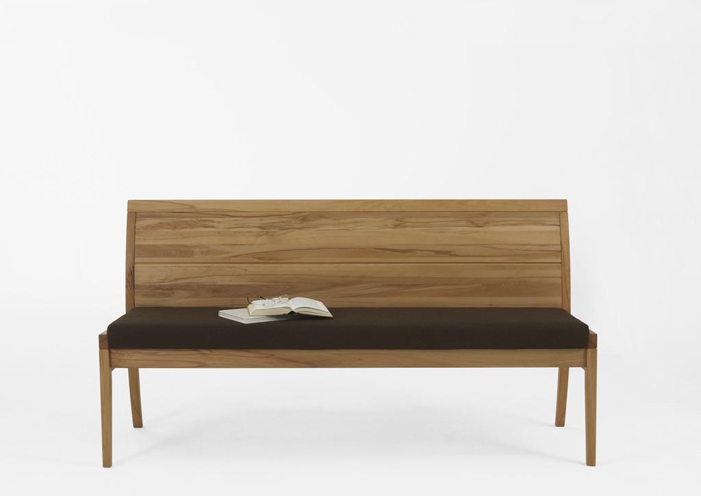 Sitzbank CASERA Textilpolster braun mit Rückenlehne Asteiche