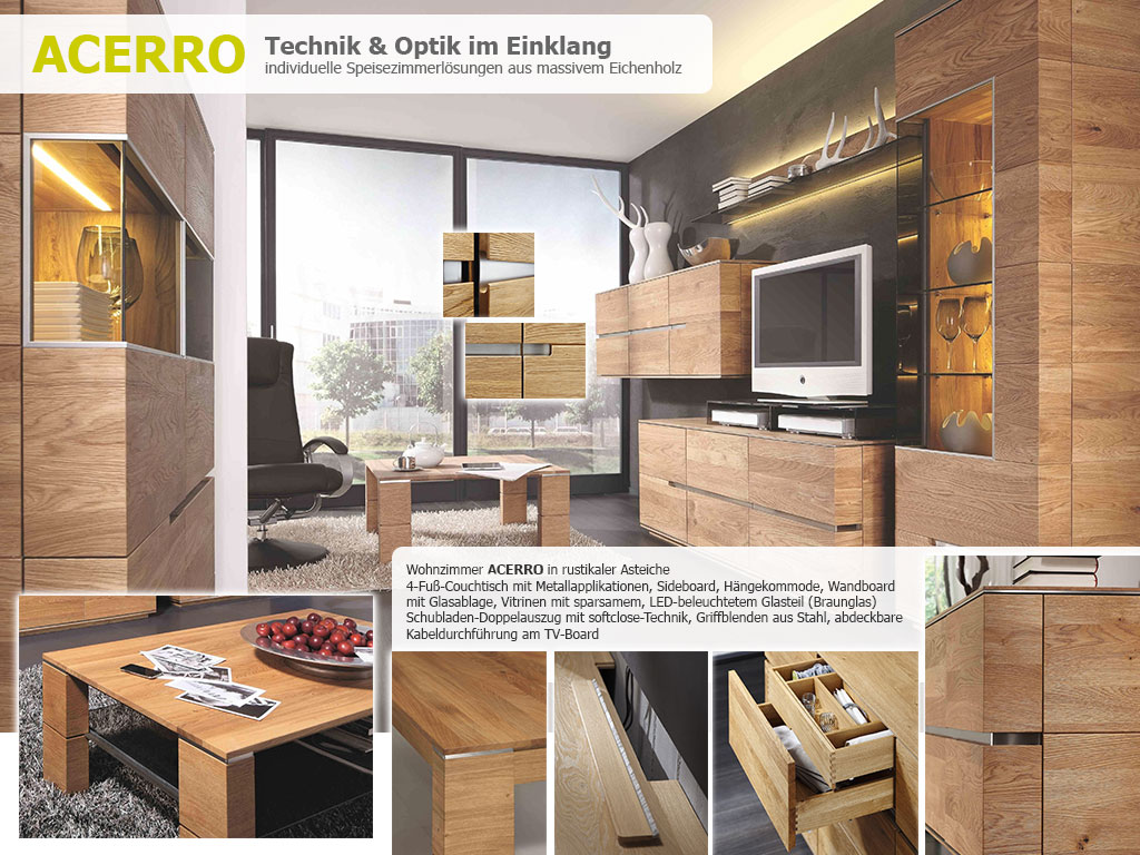 Wohnzimmer Acerro Wohnwand Couchtisch Boards Kommoden