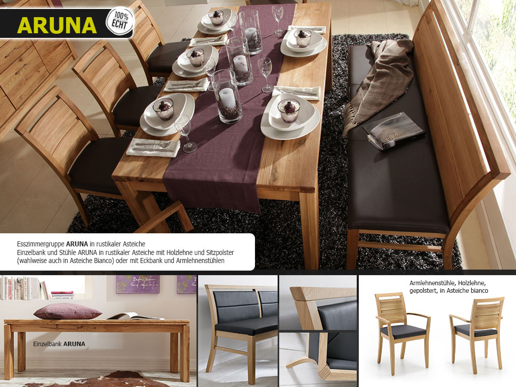 Sitzgelegenheiten ARUNA 4-Fuß-Esstisch-Einzelbank-Stühle