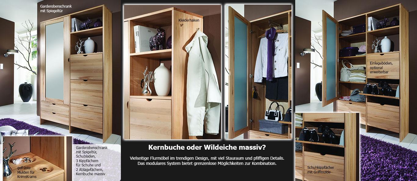 Garderobenschrank in Kernbuche