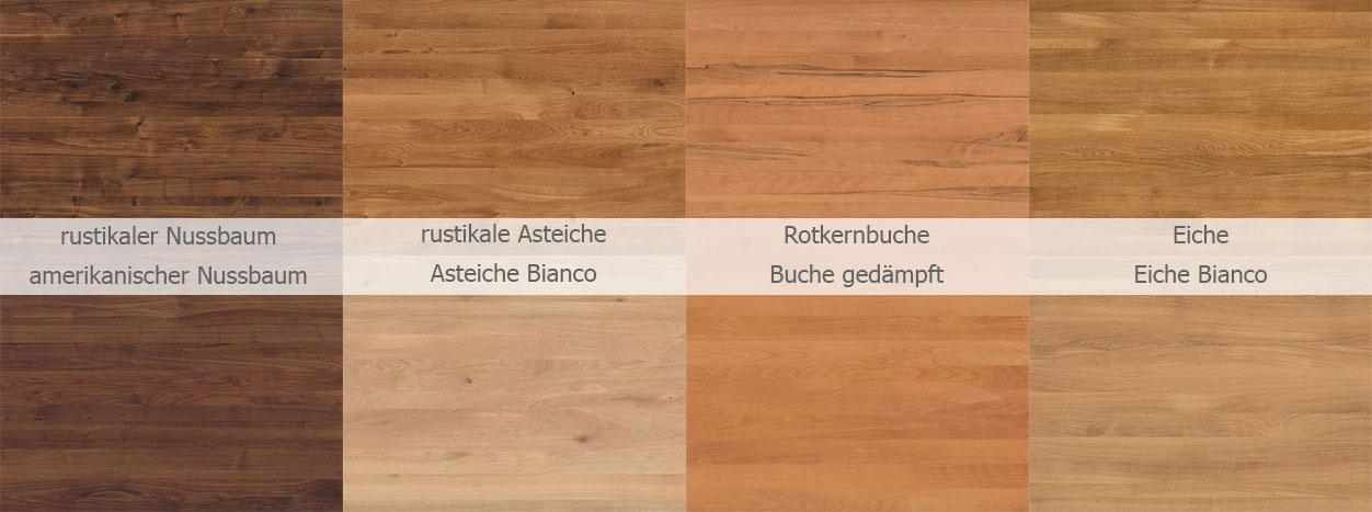 Holzarten Kollektion Holztisch nach Maß