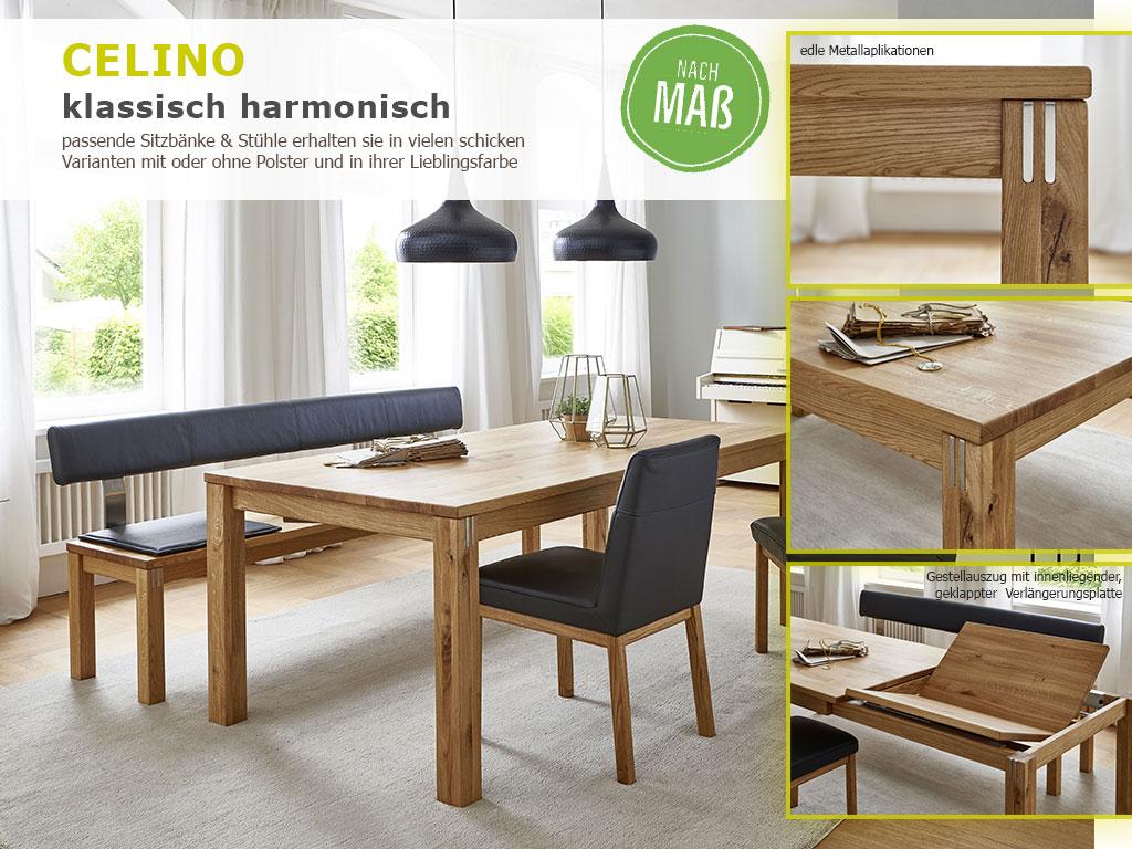 Tischgruppe Massivholz 4-Fuss Esstisch Sitzbank Stuhl