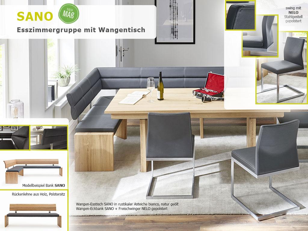 Massivholztisch Sitzgruppe SANO massiv rustikale Asteiche bianco