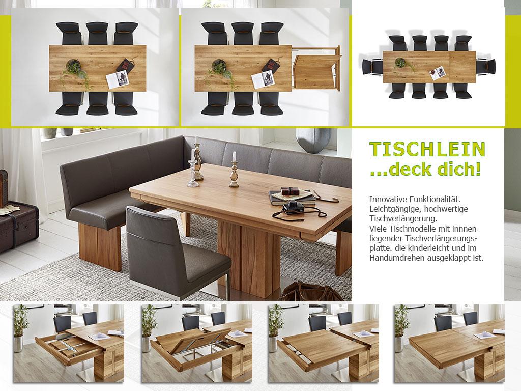Tischauszugvarianten Holztisch nach Maß
