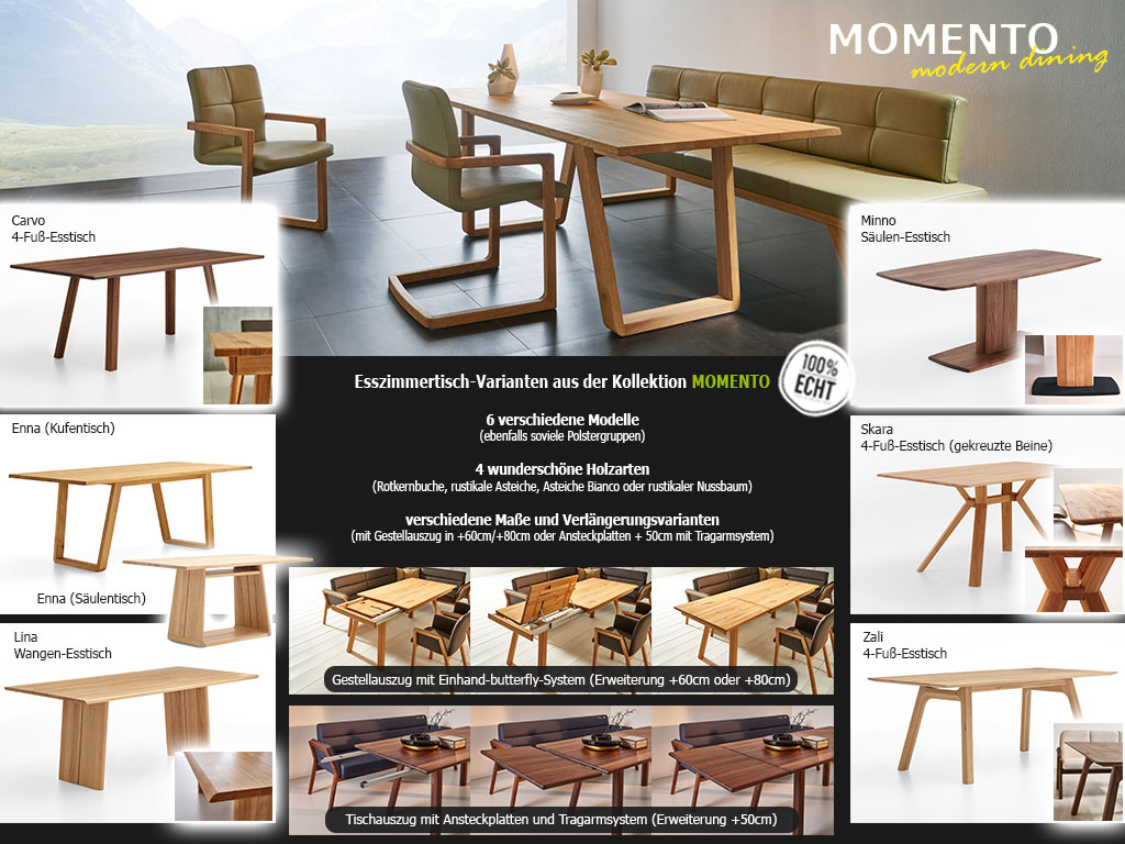 Vergleich Tischmodelle Momento