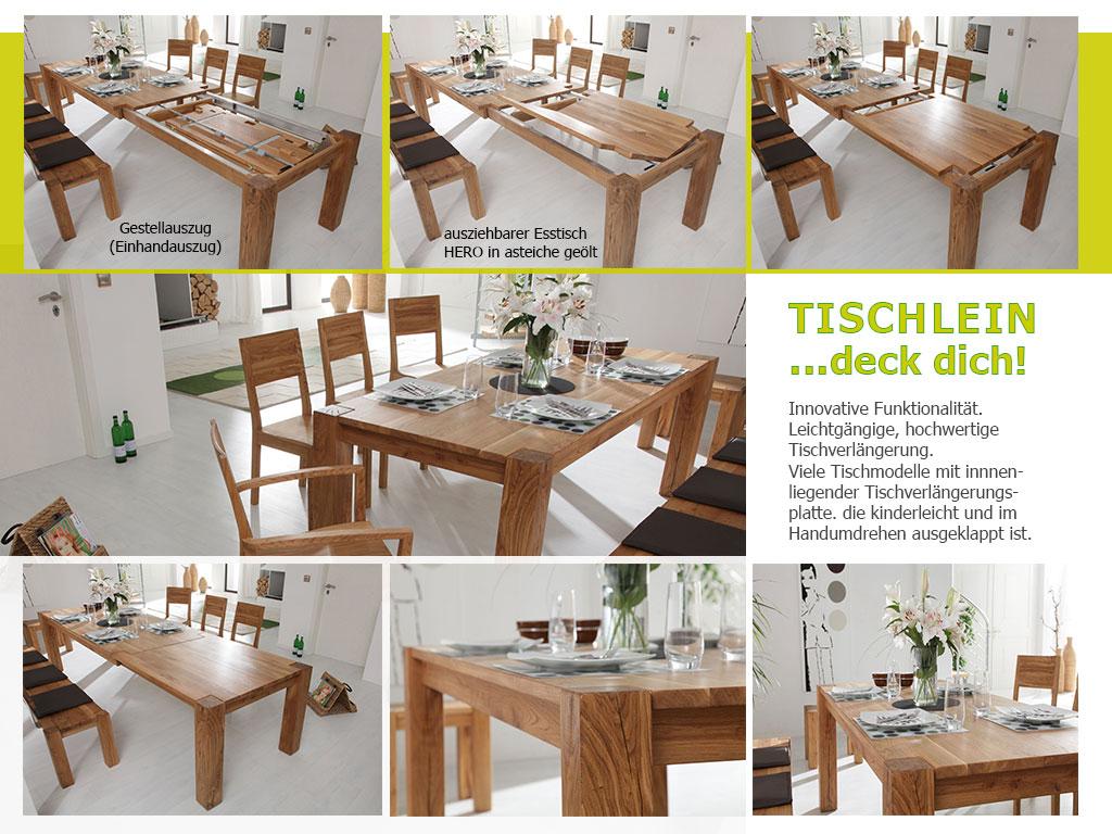 Holztisch nach Maß Massivholz Esstisch Tischauszugvarianten HERO