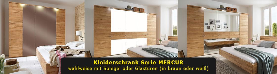 Kleiderschrank massiv Glastür MERCUR