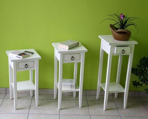 Beistelltisch Halbrund Holz ~ Beistelltisch Blumentisch Set Blumenhocker Holz massiv weiß antik