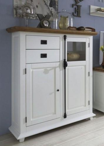 buffetschrank 2 holzt ren 2 glast ren 1 schublade mit f en buche teilmassiv wei. Black Bedroom Furniture Sets. Home Design Ideas