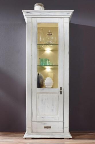 Massivholz Highboard weiß Vitrine Kiefer shabby-chic