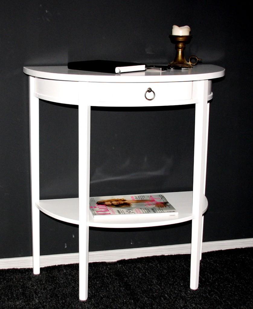 Beistelltisch Halbrund Holz ~   Konsolentisch Telefontisch Wandkonsole halbrund Holz massiv weiß