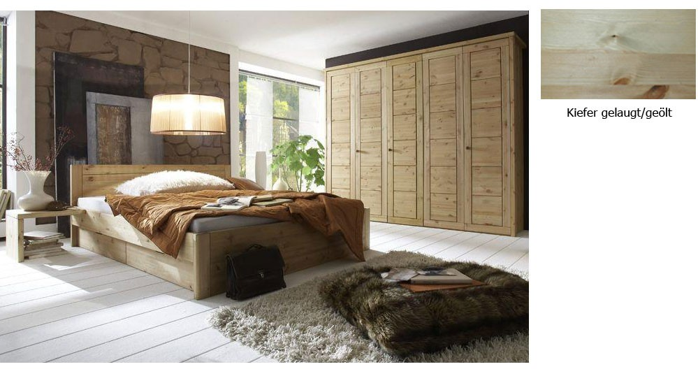 Massivholz Schlafzimmer Landhausstil Guldborg Kiefer massiv komplett ...