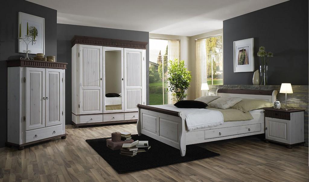 Massivholz Schlafzimmer-Set 5teilig komplett Kiefer massiv weiß ...